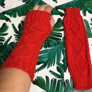 Red Hand and Arm Warmers